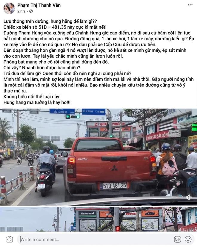 Ốc Thanh Vân bị xe phía sau vượt lên chèn ép vì lái ôtô chậm trên phố