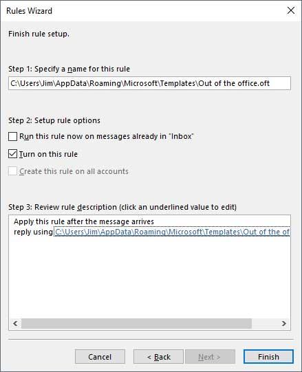 Tạo một Outlook Trả lời vắng mặt mà không cần Exchange