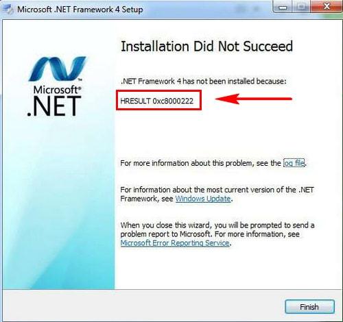 Tự khắc phủ phục tội lỗi HRESULT: 0xc8000222 lát găm Net Framework 4